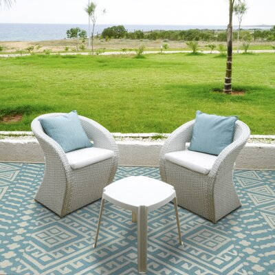 Virgina Aqua Outdoor Area Rug Rug Size: 5 x 76