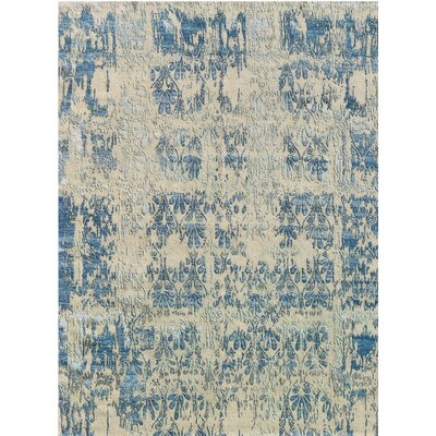 Synergy Hand-Knotted Blue/Beige Area Rug Rug Size: 6 x 9