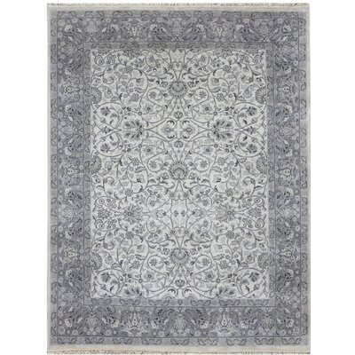 Zella Hand-Knotted Beige/Gray Area Rug Rug Size: Rectangle 9 x 12