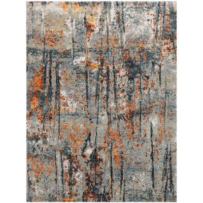 Blanchard Hand-Knotted Orange Area Rug Rug Size: 9 x 12