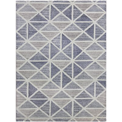 Heiman Hand-Tufted Gray/Blue Area Rug Rug Size: 5 x 8