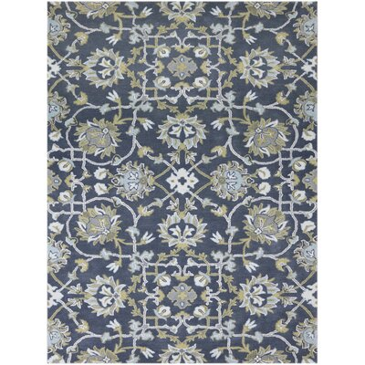 Bessie Hand-Tufted Gray/Blue Area Rug Rug Size: 76 x 96