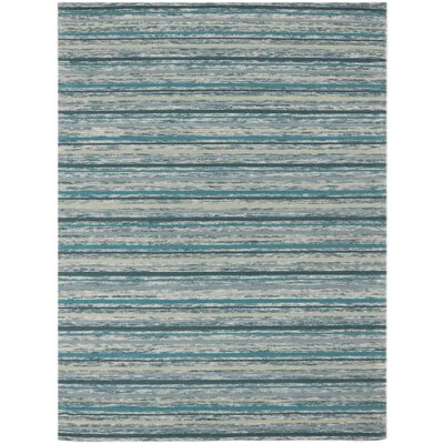 Brookes Hand-Tufted Teal Area Rug Rug Size: 5 x 8