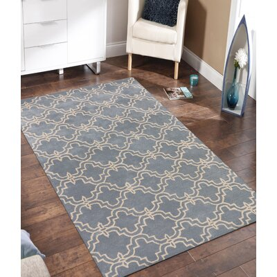 Lamontagne Trellis Wool Hand-Tufted Blue Area Rug Rug Size: 5 x 8