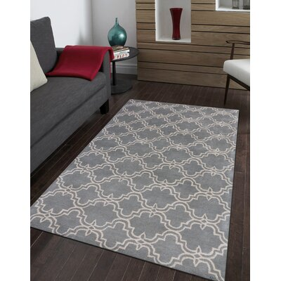 Ladd Trellis Wool Hand-Tufted Gray Area Rug Rug Size: Rectangle 5 x 8