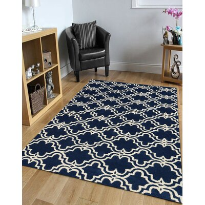 Ladd Trellis Wool Hand-Tufted Navy Area Rug Rug Size: Rectangle 5 x 8