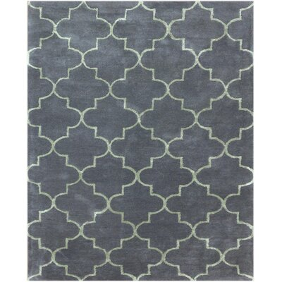Ladd Trellis Hand-Tufted Graphite Area Rug Rug Size: Rectangle 76 x 96