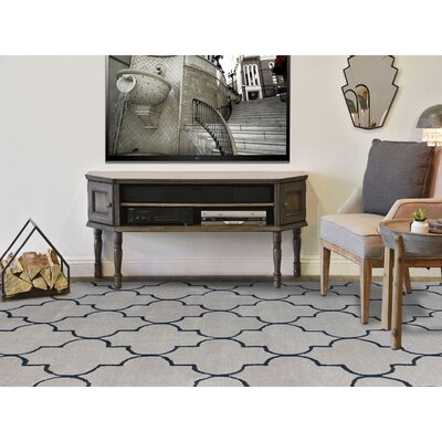 Ladd Trellis Hand-Tufted Silver/Sand Area Rug Rug Size: Rectangle 76 x 96