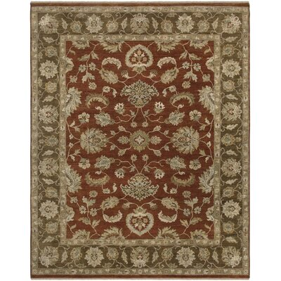 Sisante Design Khaki Green Hand-Knotted Area Rug Rug Size: 2 x 3