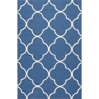 Barcelona Blue/Ivory Geometric Indoor/Outdoor Area Rug Rug Size: 3'6