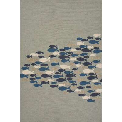 Hand-Hooked Gray Outdoor Area Rug