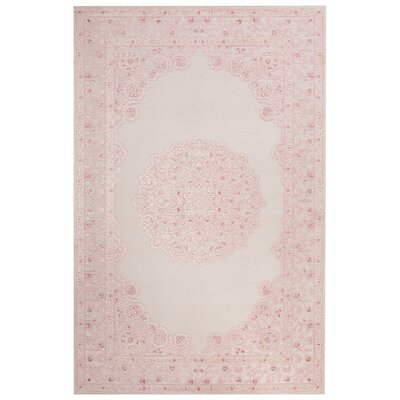 Fontanne Machine-Woven Chenille Ivory/Baby Pink Area Rug Rug Size: Rectangle 5 x 76