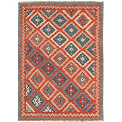 Rubina Burnt Brick/Medium Blue Tribal Area Rug Rug Size: Rectangle 9 x 12