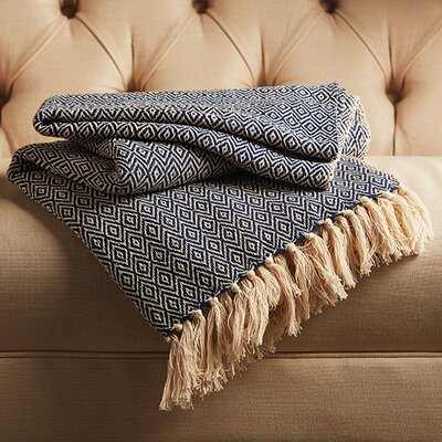 Reims Cotton Throw Color: Peacoat/Winter White