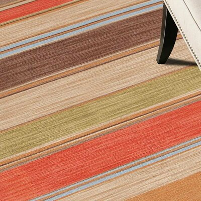 Summerwood Poppy/Lemon Stripe Area Rug Rug Size: Rectangle 9 x 12