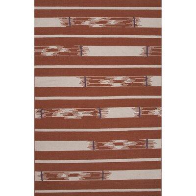Camarillo Flat Weave Wool Auburn/Ivory Area Rug Rug Size: 5 x 8