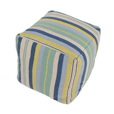"Cadiz Stripe Cotton Pouf Ottoman Upholstery: Blue/Ivory CD34-18""x18""x18"