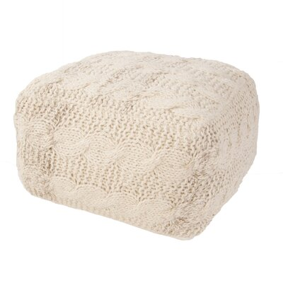 Romeo Solid Wool Pouf Ottoman Upholstery Color: Ivory/White