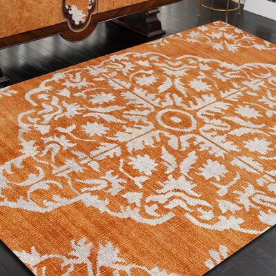 Erzin Hand Knotted Orange Area Rug Rug Size: Rectangle 9 x 13