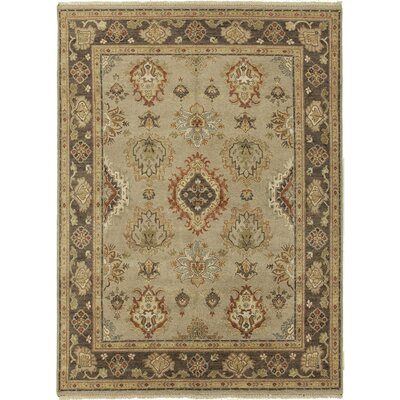 Caravelle Hand-Knotted Wool Beige/Black Area Rug Rug Size: 4 x 6