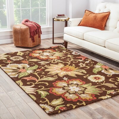 Dilbeck Dark Chocolate Floral Area Rug Rug Size: Runner 26 x 8