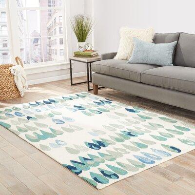 Heitz Ivory/Blue/Green Indoor/Outdoor Area Rug Rug Size: 5 x 76
