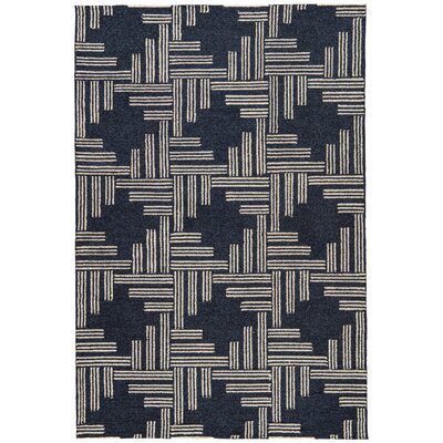Helfer Navy/Tan Indoor/Outdoor Area Rug Rug Size: 76 x 96