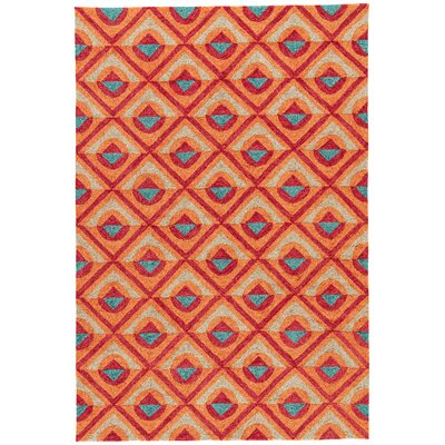 Helfrich Red/Orange/Turquoise Indoor/Outdoor Area Rug Rug Size: Rectangle 76 x 96