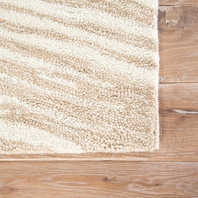 Adriana Hand-Tufted Tan/Ivory Area Rug Rug Size: Rectangle 5 x 76