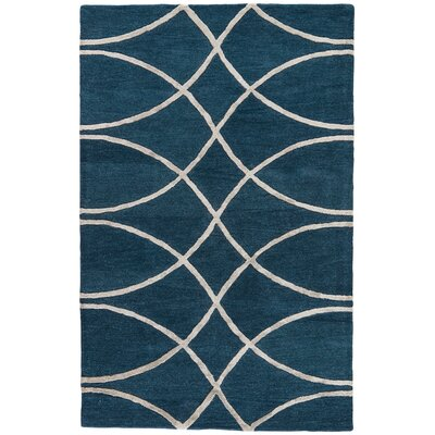 Cortlandville Hand-Tufted Navy/Taupe Area Rug Rug Size: 5 x 8