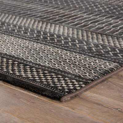 Morton Black/Tan Area Rug Rug Size: 53 x 76