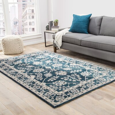 Voorhees Hand-Tufted Navy/Blue/Gray Area Rug Rug Size: 5 x 8