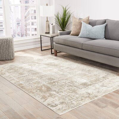 Helmer Oyster Gray/Tan Area Rug Rug Size: Rectangle 2 x 3