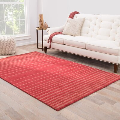 Sloane Hand-Tufted Red/Salmon Area Rug Rug Size: 8 x 11