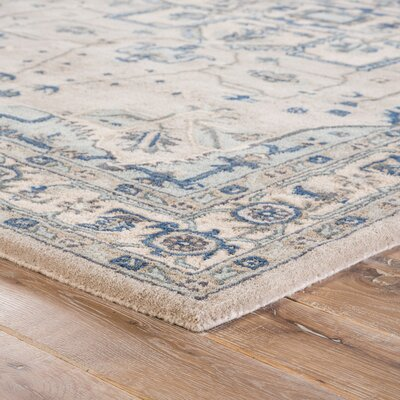 Victoire Hand-Tufted Taupe/Blue Area Rug Rug Size: 8 x 10