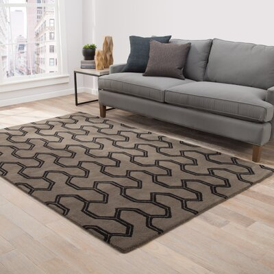 Heitman Hand-Tufted Taupe/Black Area Rug Rug Size: 8 x 11