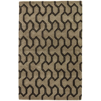 Heitman Hand-Tufted Taupe/Black Area Rug Rug Size: 2 x 3