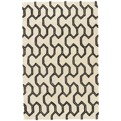 Heitman Hand-Tufted Cream/Black Area Rug Rug Size: 8 x 11