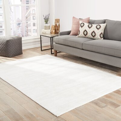 Sara Hand-Woven Bright White Area Rug Rug Size: Rectangle 9 x 12