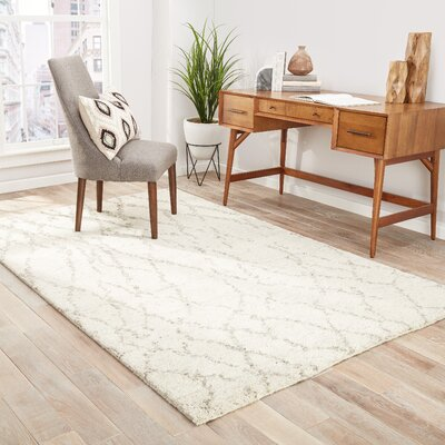 Easmor Hand-Knotted Cream/Brown Area Rug Rug Size: Rectangle 9 x 12