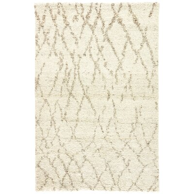Easmor Hand-Knotted Cream/Brown Area Rug Rug Size: Rectangle 8' x 10'
