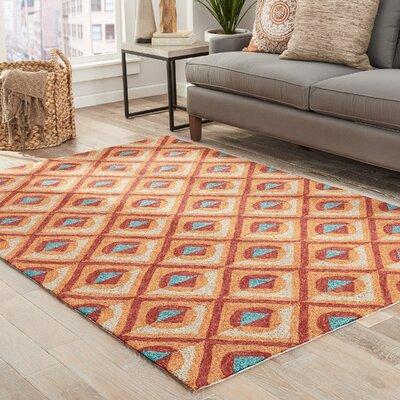 Helfrich Red/Orange/Turquoise Indoor/Outdoor Area Rug Rug Size: 76 x 96
