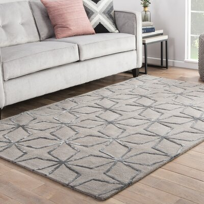 Bogwood Hand-Tufted Gray/Silver Area Rug Rug Size: 2 x 3