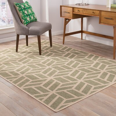 Sharon Olive/Beige Indoor/Outdoor Area Rug Rug Size: 76 x 96