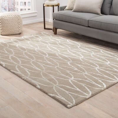 Sariya Hand-Tufted Tan/Gray Area Rug Rug Size: Rectangle 5 x 8