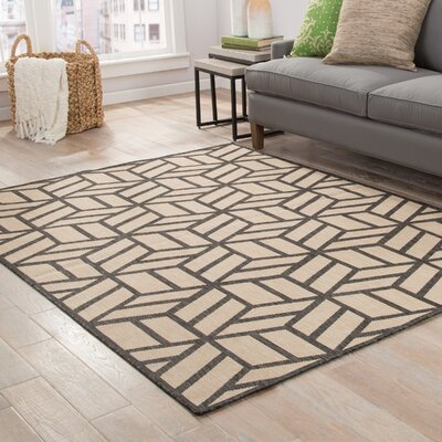 Sharon Beige/Black Indoor/Outdoor Area Rug Rug Size: 76 x 96