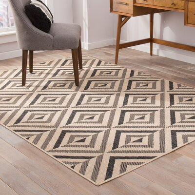Helle Black/Beige Indoor/Outdoor Area Rug Rug Size: 5 x 76
