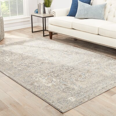 Blaine Cream/Brown/Blue Area Rug Rug Size: 76 x 96