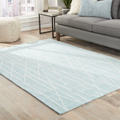 Hellman Hand-Tufted Blue/Cream Area Rug Rug Size: 76 x 96