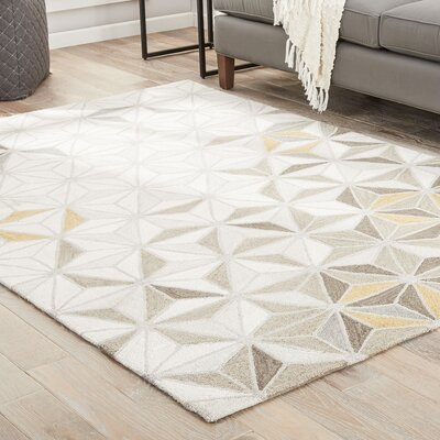 Hellwig Hand-Tufted Cream/Mustard Area Rug Rug Size: Rectangle 2 x 3